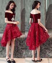 Load image into Gallery viewer, Burgundy Tulle Applique Short Prom Dress - Harajuku Kawaii Fashion Anime Clothes Fashion Store - SpreePicky