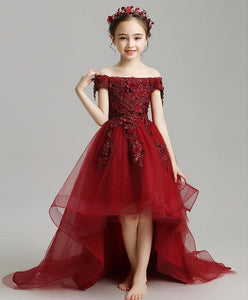 Burgundy High Low Tulle Lace Flower Girl Dress, Party Girl Dress - SpreePicky FreeShipping