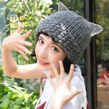Load image into Gallery viewer, 6 Colors Kawaii Lace Kitty Warming Knitted Hat SP1710824