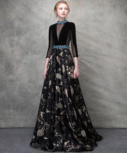 Load image into Gallery viewer, Unique Black Satin Long Prom Dress, Black Evening Dress - DelaFur Wholesale