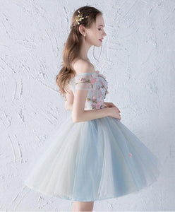 Gray Blue Tulle Lace Applique Short Prom Dress, Homecoming Dress - DelaFur Wholesale