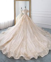 Load image into Gallery viewer, Champagne Off Shoulder Tulle Lace Long Wedding Dress, Wedding Gown - Harajuku Kawaii Fashion Anime Clothes Fashion Store - SpreePicky