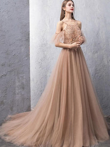 Champagne Tulle Lace Long Prom Dress, Champagne Lace Evening Dress - DelaFur Wholesale