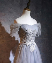 Load image into Gallery viewer, Gray A-Line Tulle Lace Applique Long Prom Dress, Gray Bridesmaid Dress - DelaFur Wholesale