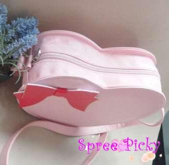 Lolita sweet double sides of heart with bow hang bag - 6 colors -SP130202 - SpreePicky  - 2