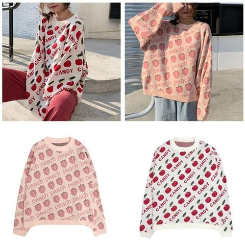 White/Pink/Black Sweet Peach Cheery Sweater SP14328