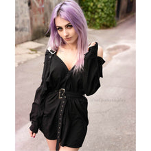 Load image into Gallery viewer, Black Harajuku Gothic Off Shoulder Shirt Dress S13165