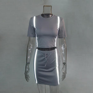 Reflective Top Skirt Set SP13991