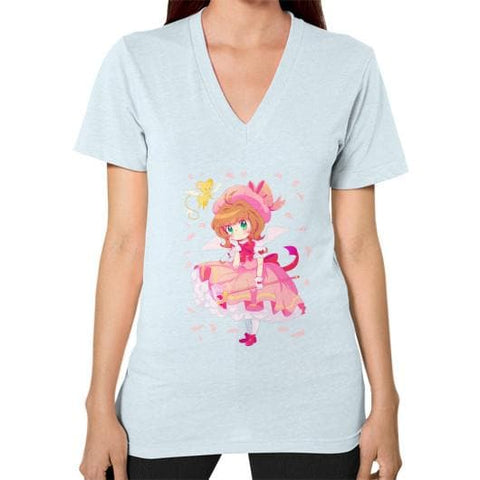 Wonderful Sakura V-Neck Woman Tee Shirt - SpreePicky  - 9