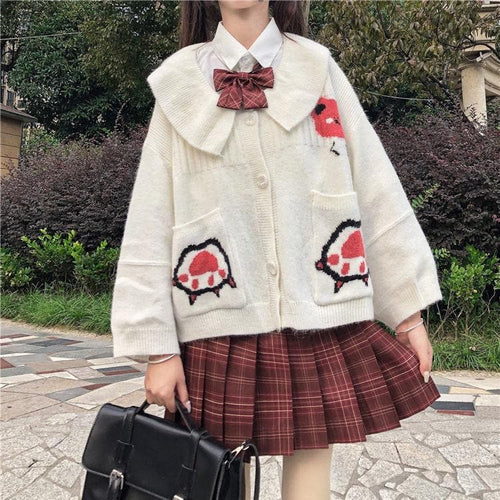Preppy Style Cute Doll Collar Cartoon Pattern JK Uniform Coat SS0586