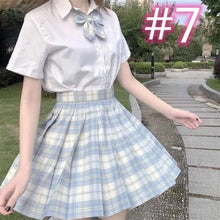 Load image into Gallery viewer, JK School Uniform Short Sleeve Shirt Pleated Skirt SP15645