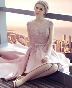 Pink Lace Satin High Low Prom Dress, Homecoming Dress - DelaFur Wholesale