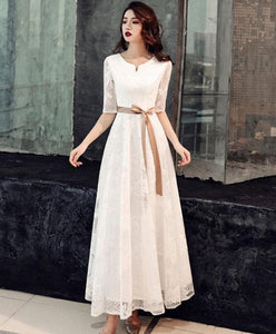White Lace Tea Length Prom Dress White Lace Bridesmaid Dress - DelaFur Wholesale