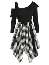 Load image into Gallery viewer, Plaid Skew Neck Belted Handkerchief Dress SP14428