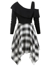 Load image into Gallery viewer, Plaid Skew Neck Belted Handkerchief Dress SP14428 - SpreePicky