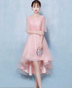 Simple Pink Tulle Short Prom Dress, Pink Bridesmaid Dress - DelaFur Wholesale