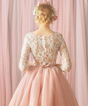 Load image into Gallery viewer, Pink Round Neck Tulle Lace Short Prom Dress, Bridesmaid Dress - DelaFur Wholesale