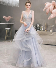 Load image into Gallery viewer, Champagne V Neck Tulle Beads Long Prom Dress, Champagne Evening Dress - DelaFur Wholesale