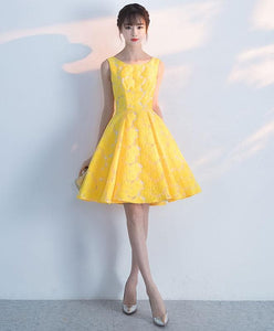 Cute Yellow Lace Short Prom Dress, Yellow Homecoming Dress - DelaFur Wholesale