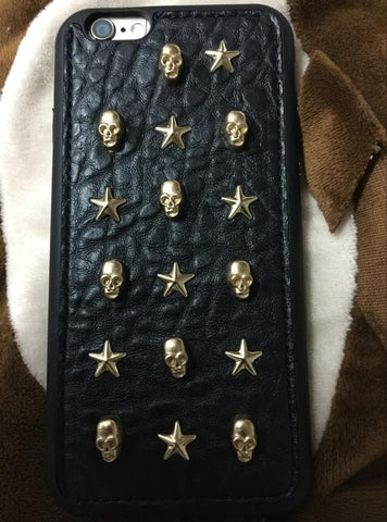 Silver Grey/Golden Skull Rivet Phone Case SP167522