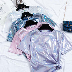 7 Colors Holo Shining Tee Shirt SP13703