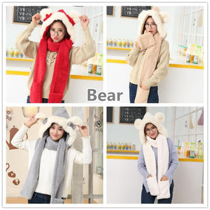 7 Colors Kawaii Bunny/Bear Ears Scarf Hat SP1710929
