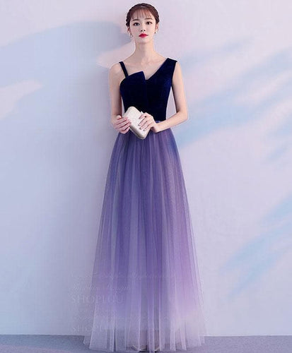 Purple Tulle Long Prom Dress, Purple Tulle Bridesmaid Dress - DelaFur Wholesale