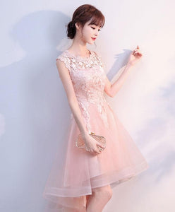 Pink Tulle Lace High Low Prom Dress, Pink Homecoming Dress - DelaFur Wholesale