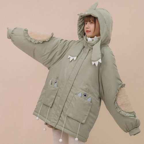 Cute Thick Warm Little Dinosaur Ear Coat SP15327