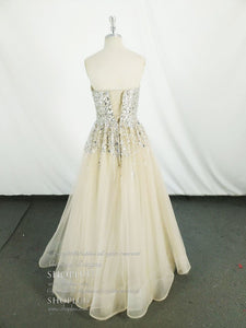 Champagne Tulle Sequin Long Prom Dress Tulle Evening Dress - DelaFur Wholesale
