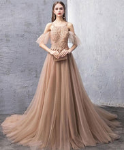 Load image into Gallery viewer, Champagne Tulle Lace Long Prom Dress, Champagne Lace Evening Dress - Harajuku Kawaii Fashion Anime Clothes Fashion Store - SpreePicky