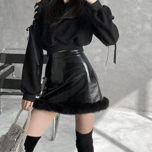 Load image into Gallery viewer, Leather Plush A-line Short Skirt SE0659