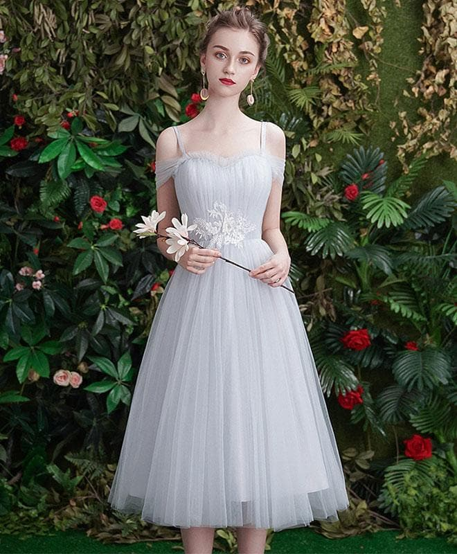 Gray Tulle Lace Short Prom Dress, Gray Tulle Bridesmaid Dress - DelaFur Wholesale