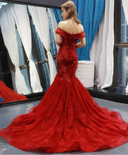 Load image into Gallery viewer, Burgundy Off Shoulder Tulle Lace Mermaid Long Prom Dress - DelaFur Wholesale
