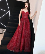 Load image into Gallery viewer, Unique Sweetheart Tulle Long Prom Dress, Burgundy Tulle Evening Dress - DelaFur Wholesale