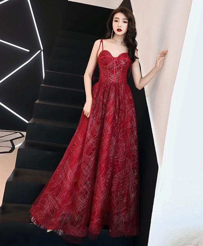 Unique Sweetheart Tulle Long Prom Dress, Burgundy Tulle Evening Dress - DelaFur Wholesale