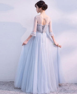 Gray V Neck Tulle Long Prom Dress, Gray Tulle Evening Dress - DelaFur Wholesale
