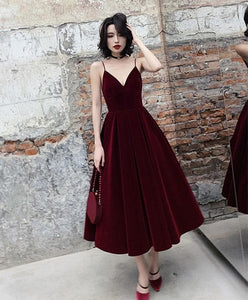 Simple Burgundy Tea Length Prom Dress, Burgundy Bridesmaid Dress A017 - DelaFur Wholesale