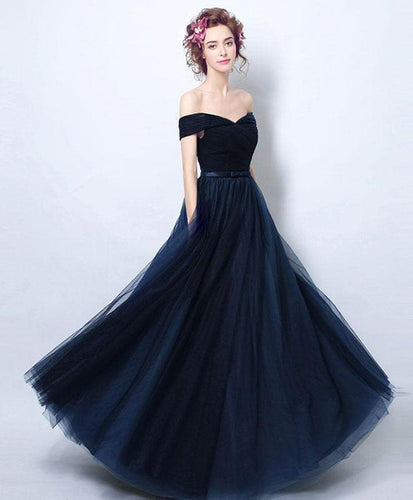 Dark Blue Tulle Long Prom Dress, Blue Tulle Bridesmaid Dress - DelaFur Wholesale