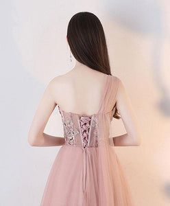 Champagne Pink Tulle Lace Long Prom Dress, Tulle Lace Evening Dress - SpreePicky FreeShipping