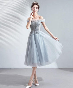 Gray Tulle Short Prom Dress Gray Tulle Bridesmaid Dress A051 - DelaFur Wholesale