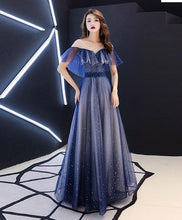 Load image into Gallery viewer, Blue V Neck Tulle Long Prom Dress, Blue Tulle Evening Dress - DelaFur Wholesale