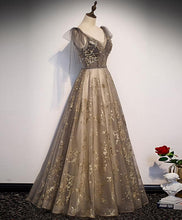 Load image into Gallery viewer, Elegant V Neck Gray Gold Tulle Lace Long Prom Dress Tulle Formal Dress - DelaFur Wholesale