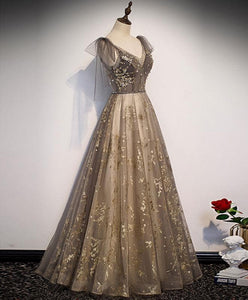 Elegant V Neck Gray Gold Tulle Lace Long Prom Dress Tulle Formal Dress - DelaFur Wholesale