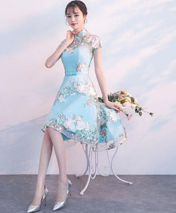 Unique Blue Tulle Embroidery Short Prom Dress, Blue Evening Dress - DelaFur Wholesale