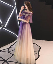 Load image into Gallery viewer, Elegant Tulle Lace Long Prom Dress Purple Tulle Evening Dress - Harajuku Kawaii Fashion Anime Clothes Fashion Store - SpreePicky
