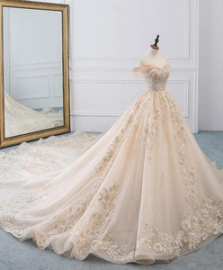 Champagne Off Shoulder Tulle Lace Long Wedding Dress, Wedding Gown - Harajuku Kawaii Fashion Anime Clothes Fashion Store - SpreePicky