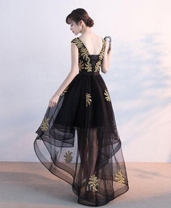 Black Tulle Lace Prom Dress, Black Lace Formal Dress - DelaFur Wholesale