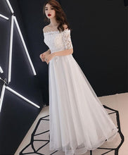 Load image into Gallery viewer, White Lace Tulle Long Prom Dress, White Tulle Lace Bridesmaid Dress - DelaFur Wholesale