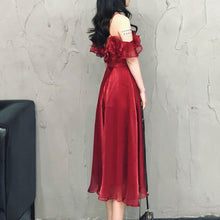 Load image into Gallery viewer, Burgundy Tulle Short Summer Dress, Party Dress - DelaFur Wholesale